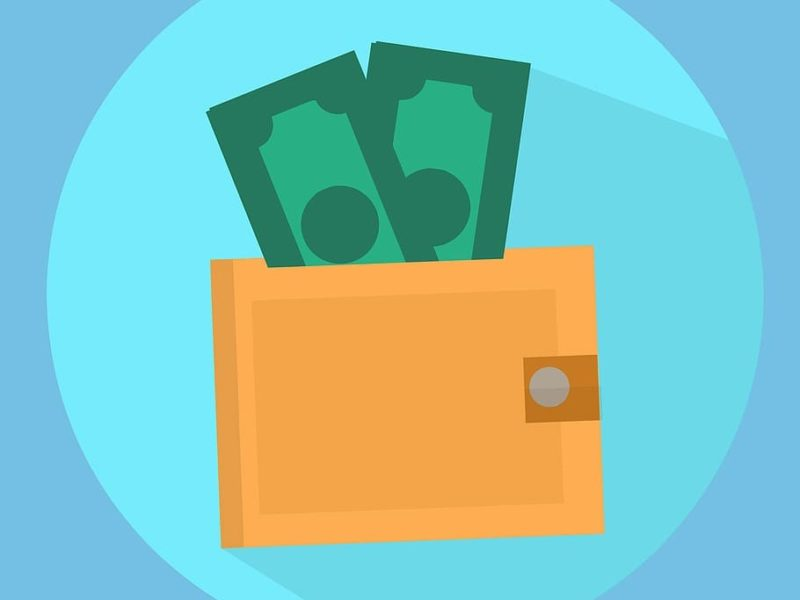 Vector image of money in the wallet