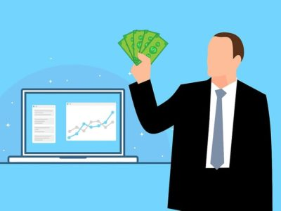 Businessman analyzing profit.