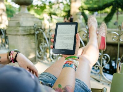 a person reading one of the best-selling PLR eBooks